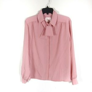 Pink tie neck blouse by pendleton
